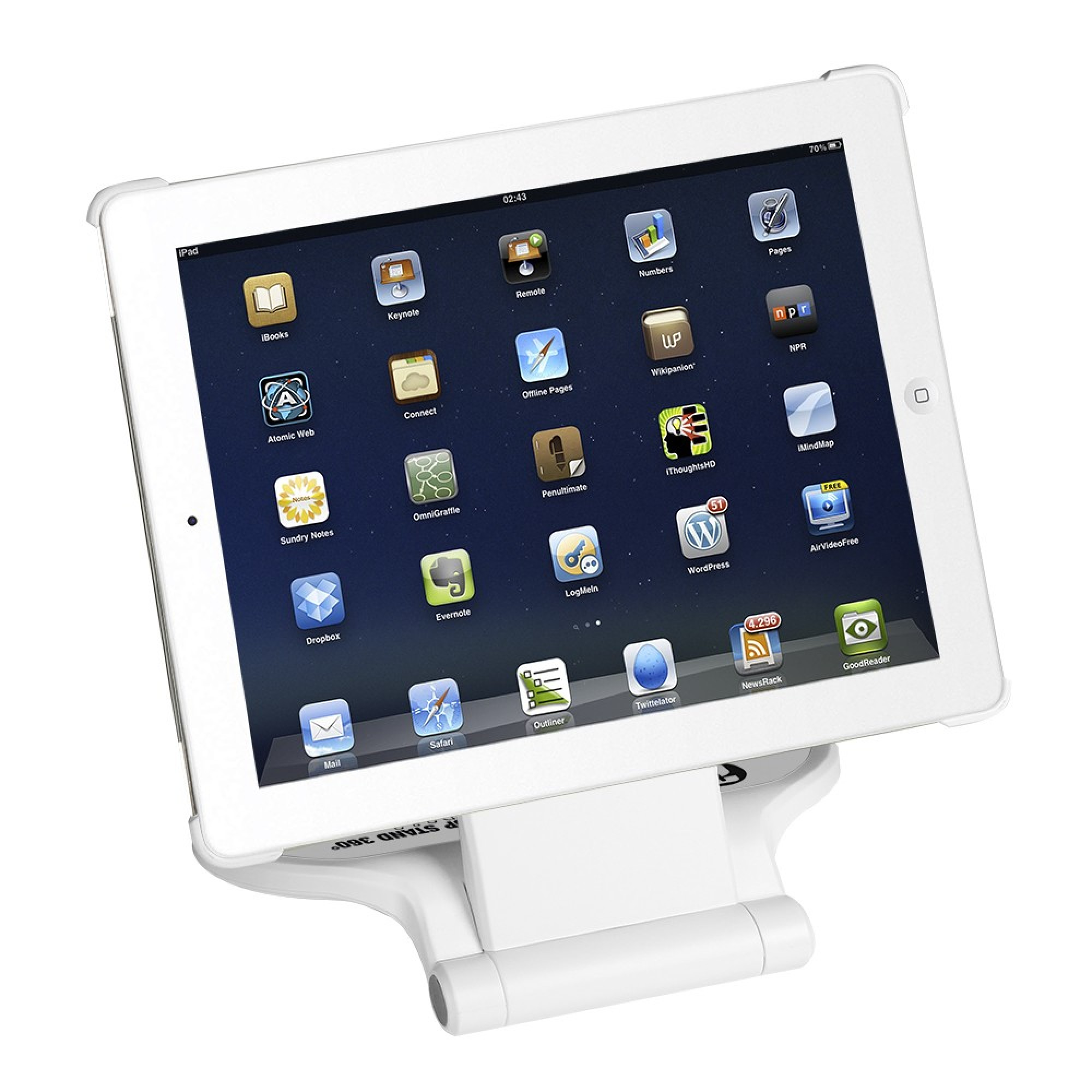 ADAM HALL SMS 360 W - Desktop Stand 360° for IPAD 2 & 3 white